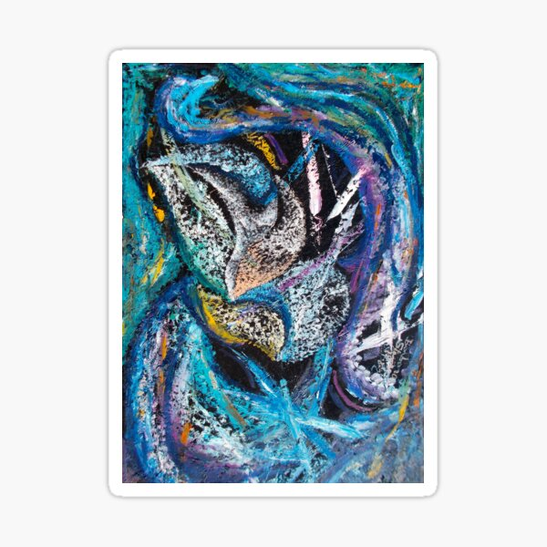 Blue Lily Abstract Art Sticker