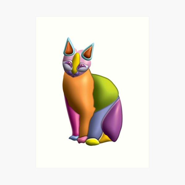 3D Cat 06 Art Print