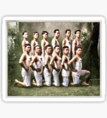 Copy of [Boys rugby team, possibly from a Vancouver high school]. [unknown] 1937  colorized by Ahmet Asar Sticker