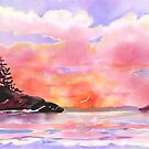 Pink and Gold Sunset by Joan A Hamilton
