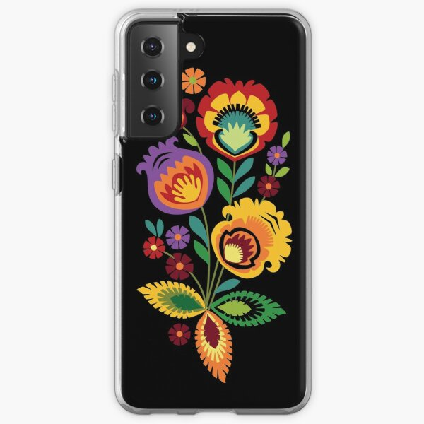 Polish Folk Flowers Red on Black Samsung Galaxy Soft Case