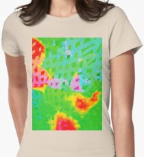 Colorful Abstract Watercolor Painting Background Womens Fitted T-Shirt