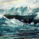 Gulls on Filey Brig by Glenn Marshall