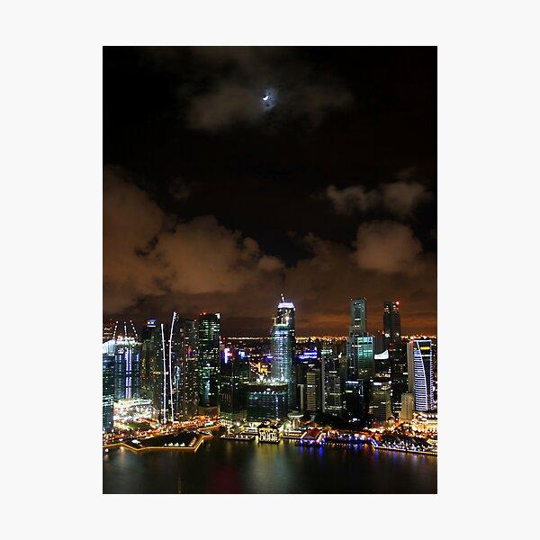 Moonlit Singapore Photographic Print