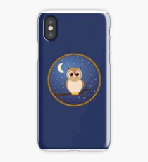 Brown Owl in Blue Night Sky iPhone Case/Skin