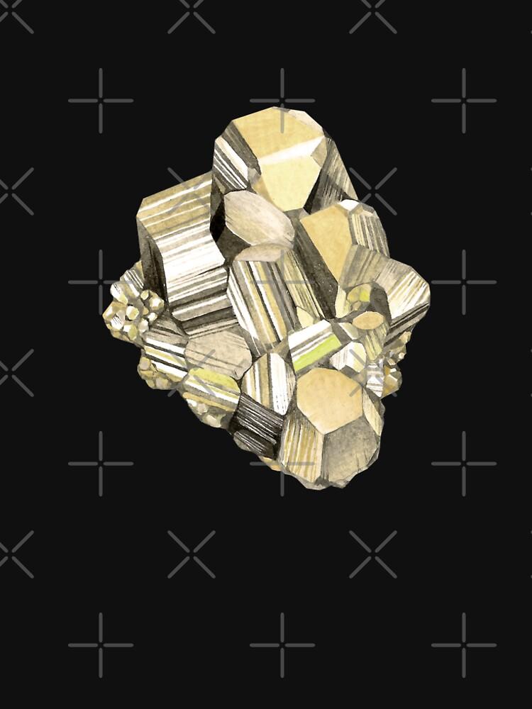 Watercolor pyrite crystal by alenazenart