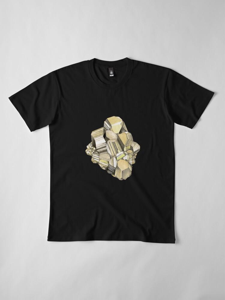 Alternate view of Watercolor pyrite crystal Premium T-Shirt
