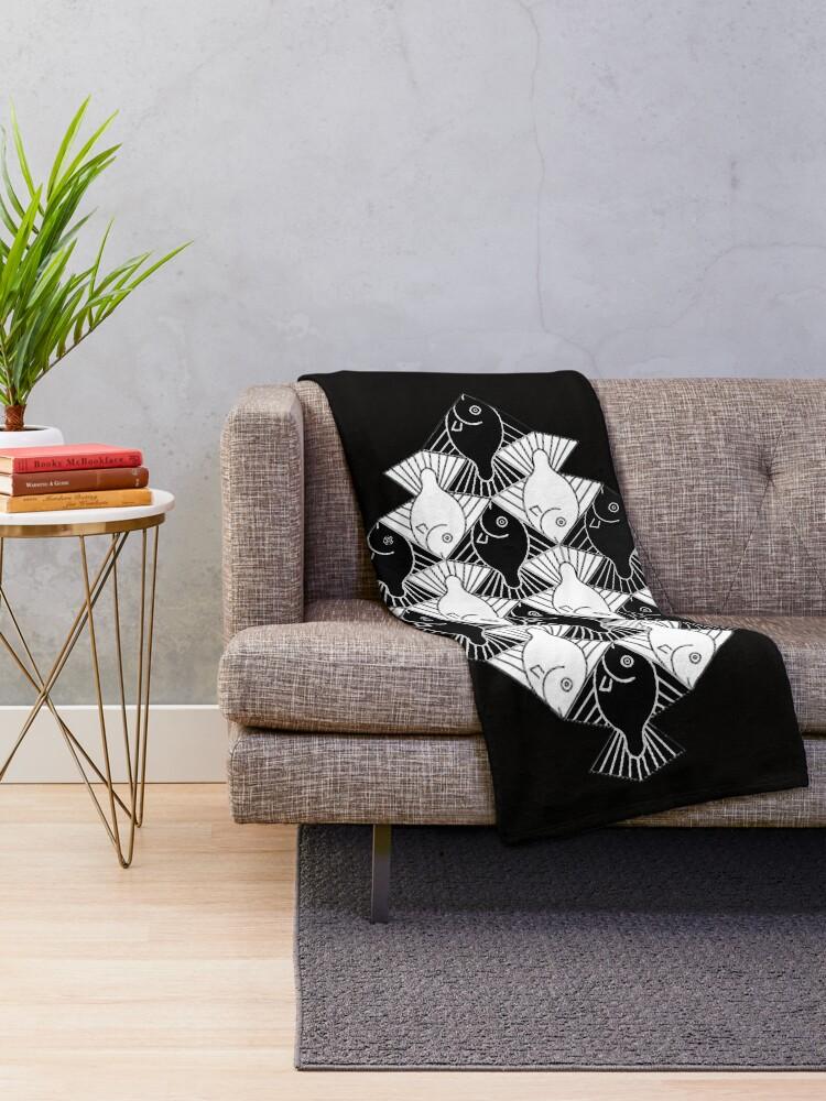 Alternate view of Escher Fishes Throw Blanket