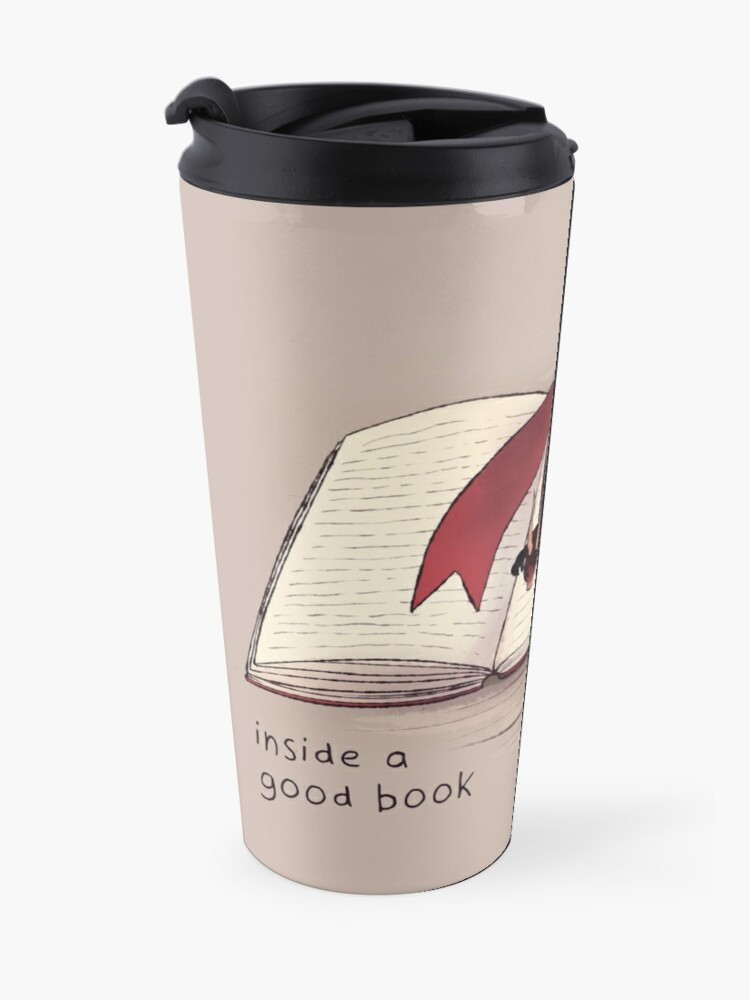 "Alternate view of ""There's always a home to be found inside a good book"" Dragon Travel Mug"