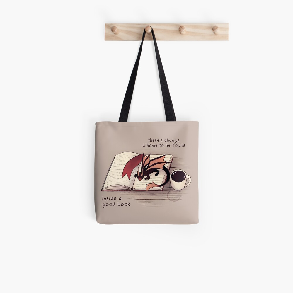 """""""There's always a home to be found inside a good book"""" Dragon Tote Bag"""