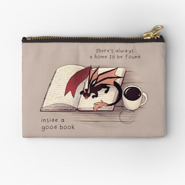"""""""There's always a home to be found inside a good book"""" Dragon Zipper Pouch"""
