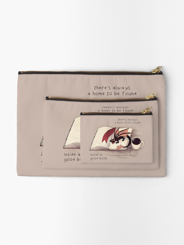 """Alternate view of """"There's always a home to be found inside a good book"""" Dragon Zipper Pouch"""