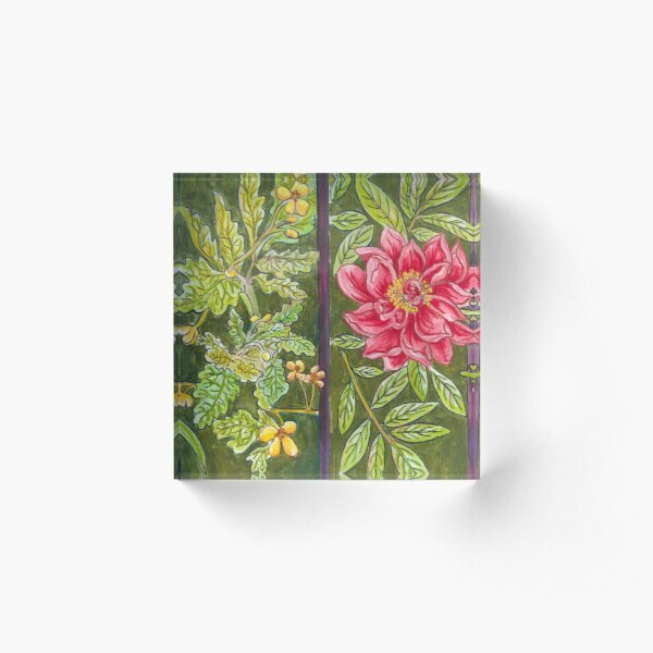 Blooms in Fenced Garden Acrylic Block