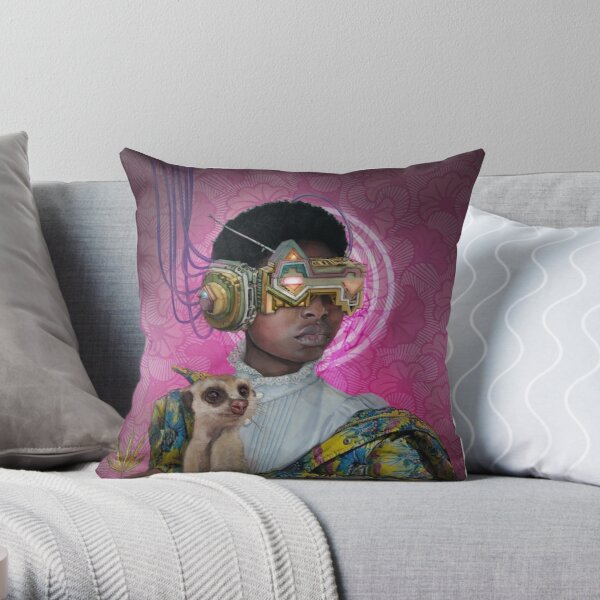 Lady with a Meerkat Throw Pillow