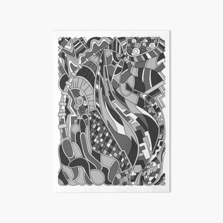 Wandering Abstract Line Art 31: Grayscale Art Board Print