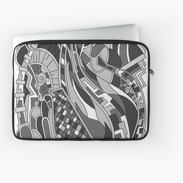 Wandering Abstract Line Art 31: Grayscale Laptop Sleeve