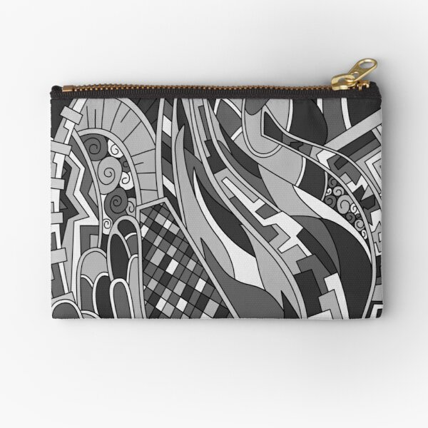 Wandering Abstract Line Art 31: Grayscale Zipper Pouch