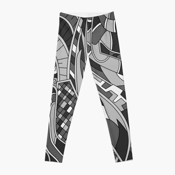 Wandering Abstract Line Art 31: Grayscale Leggings