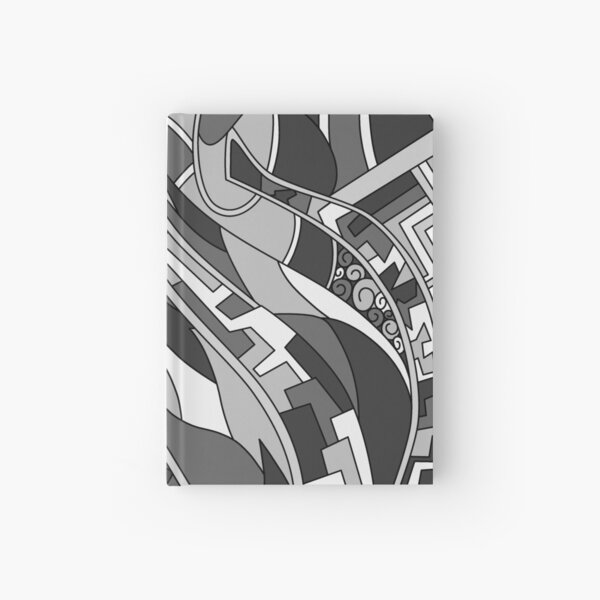 Wandering Abstract Line Art 31: Grayscale Hardcover Journal