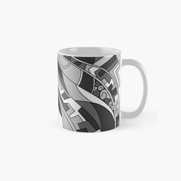 Wandering Abstract Line Art 31: Grayscale Classic Mug