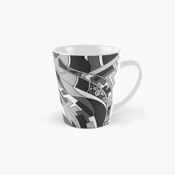 Wandering Abstract Line Art 31: Grayscale Tall Mug