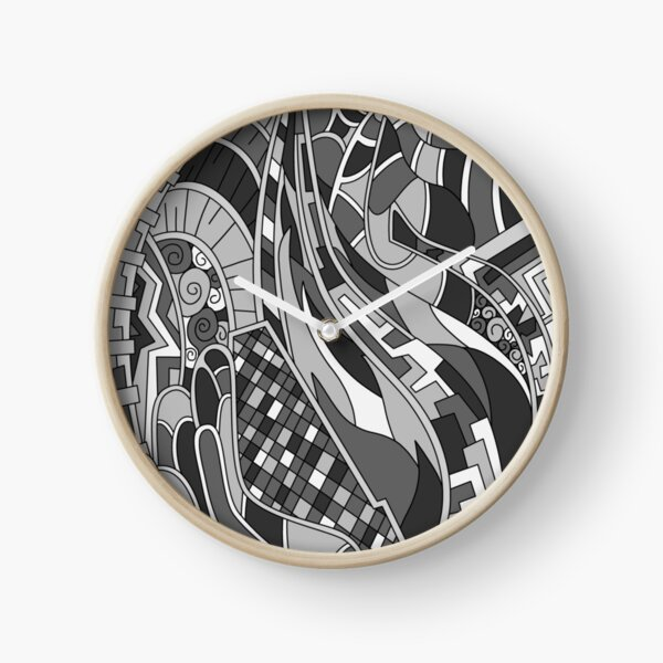 Wandering Abstract Line Art 31: Grayscale Clock