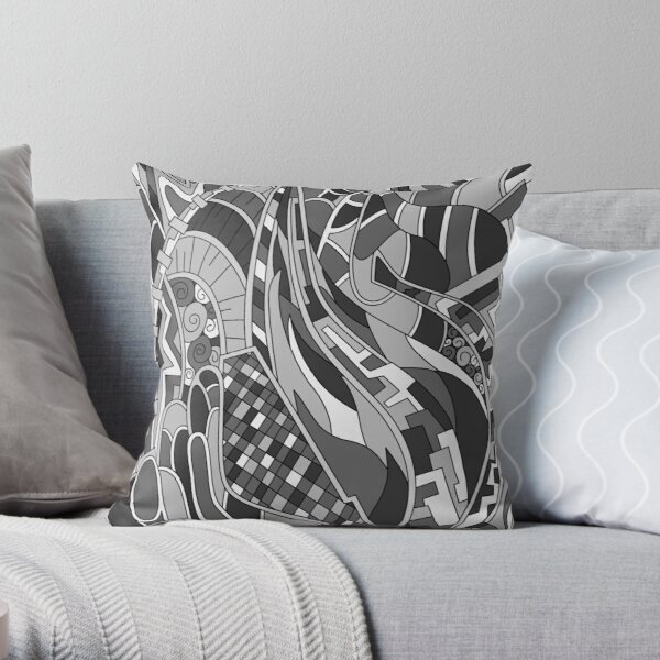 Wandering Abstract Line Art 31: Grayscale Throw Pillow