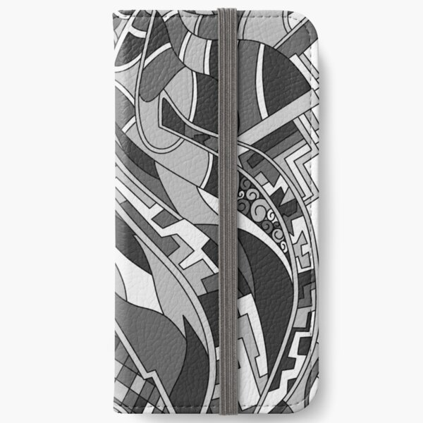 Wandering Abstract Line Art 31: Grayscale iPhone Wallet