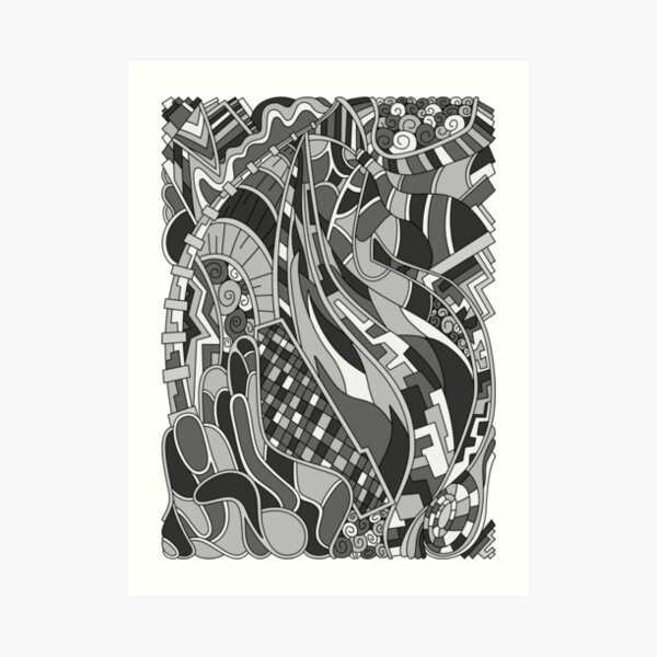 Wandering Abstract Line Art 31: Grayscale Art Print