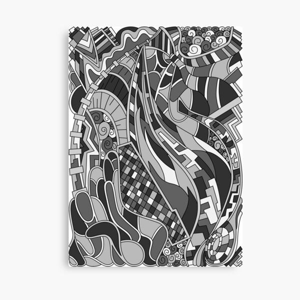 Wandering Abstract Line Art 31: Grayscale Canvas Print