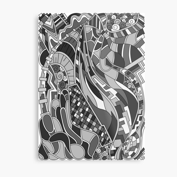 Wandering Abstract Line Art 31: Grayscale Metal Print