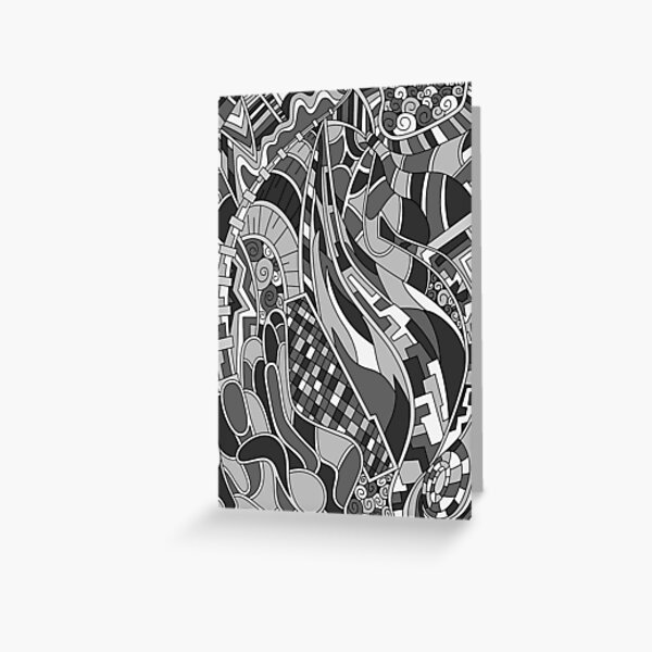 Wandering Abstract Line Art 31: Grayscale Greeting Card