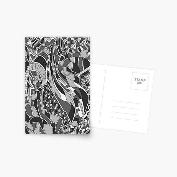 Wandering Abstract Line Art 31: Grayscale Postcard