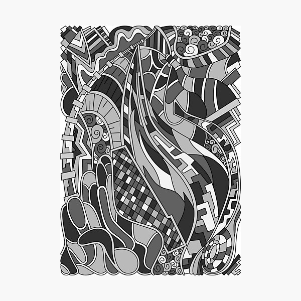 Wandering Abstract Line Art 31: Grayscale Photographic Print