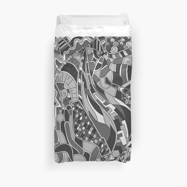 Wandering Abstract Line Art 31: Grayscale Duvet Cover