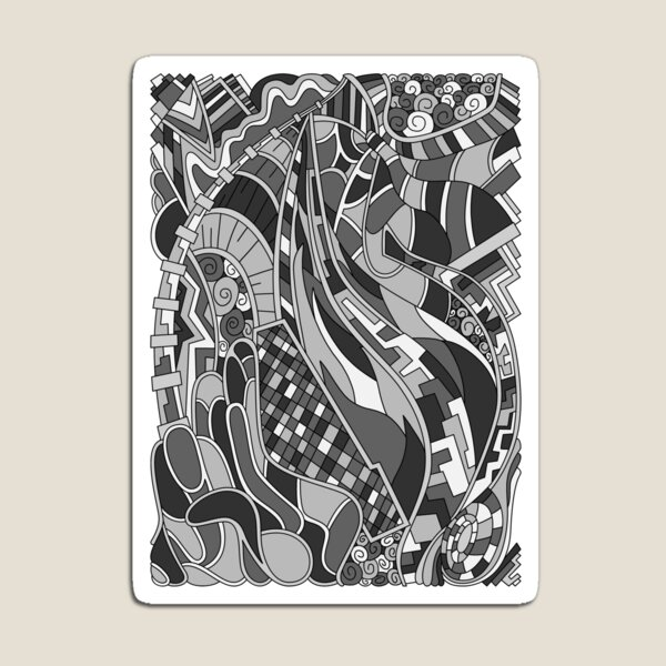 Wandering Abstract Line Art 31: Grayscale Magnet