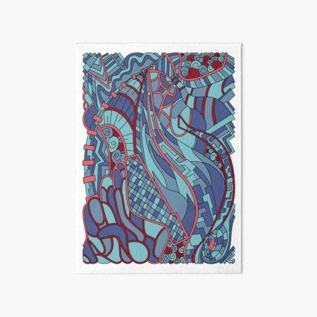 Wandering Abstract Line Art 31: Blue Art Board Print