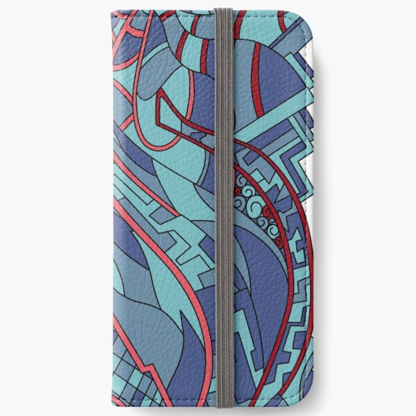 Wandering Abstract Line Art 31: Blue iPhone Wallet