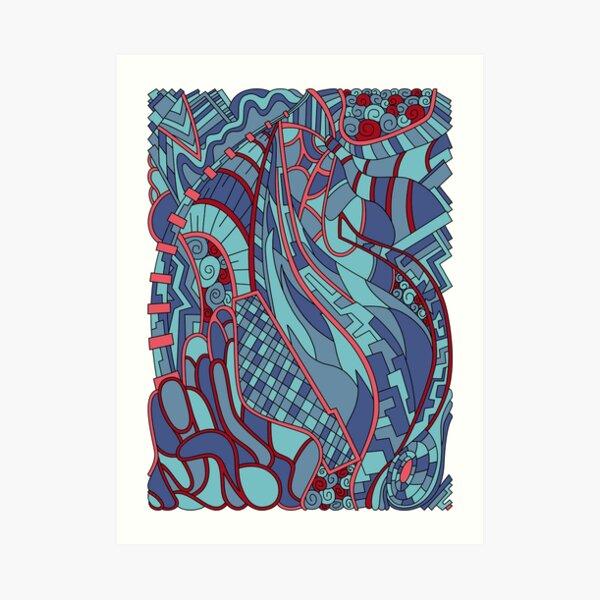 Wandering Abstract Line Art 31: Blue Art Print