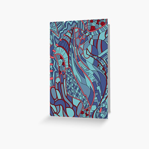 Wandering Abstract Line Art 31: Blue Greeting Card