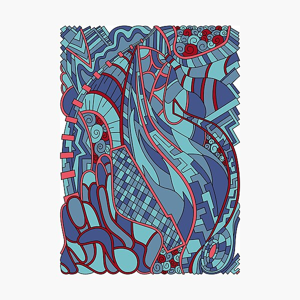 Wandering Abstract Line Art 31: Blue Photographic Print