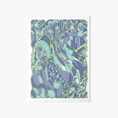 Wandering Abstract Line Art 31: Green Art Board Print