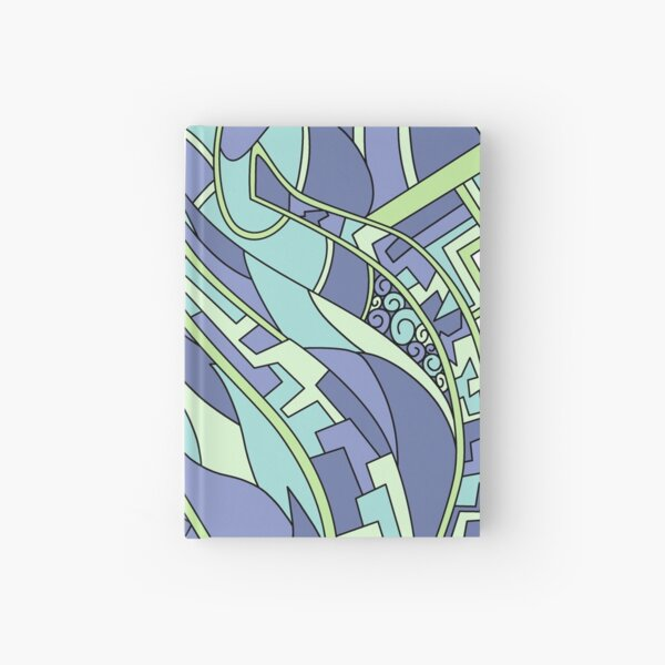 Wandering Abstract Line Art 31: Green Hardcover Journal