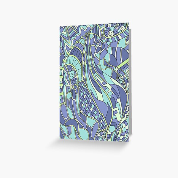 Wandering Abstract Line Art 31: Green Greeting Card