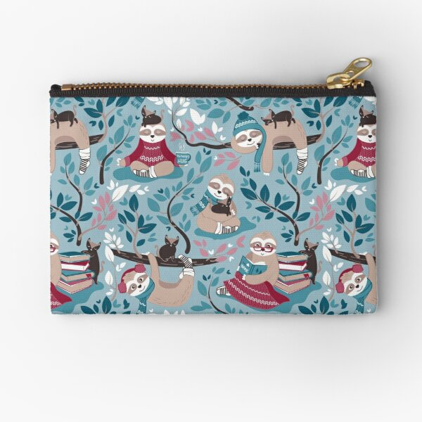 Hygge sloth // small scale // pale blue and red Zipper Pouch