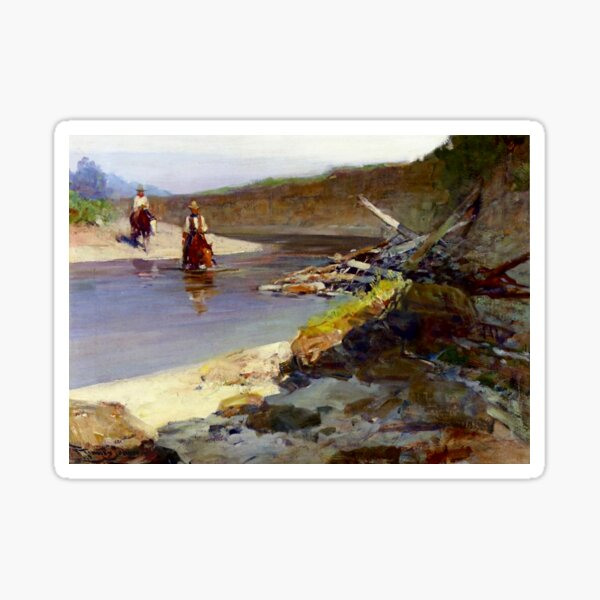 """Crossing the Snowy River"" by Frank Tenney Johnson Sticker"