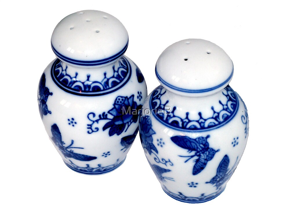 Blue and White Salt & Pepper Shakers by MarjorieB
