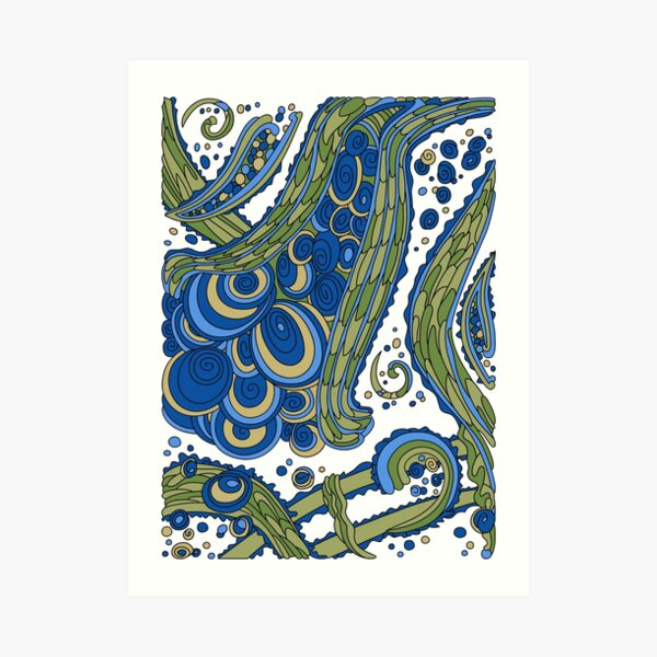 Wandering Abstract Line Art 38: Blue Art Print