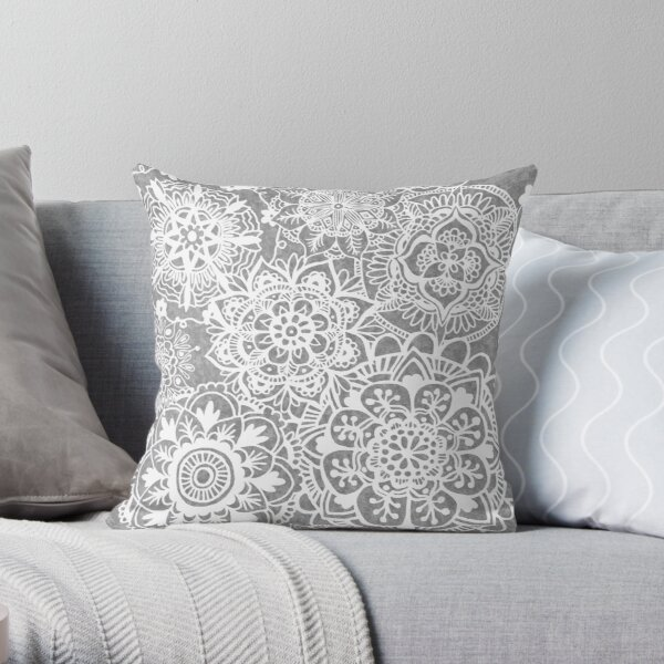 Soft Grey Mandala Pattern Throw Pillow