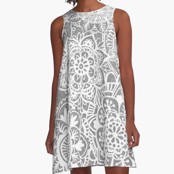 Soft Grey Mandala Pattern A-Line Dress